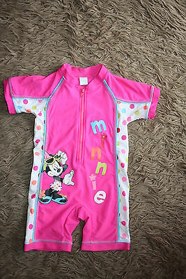 MINNIE MOUSE Baby Girl's Swimsuit UFP40+ All In One 12-18 Months