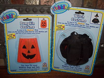 WEBKINZ~NEW~WITCH COSTUME & PUMPKIN COSTUME~Great outfit for Halloween~WITH CODE