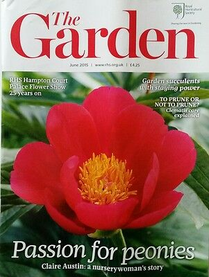 RHS The Garden Magazine June 2015 including Peonies, Clematis and Coriander