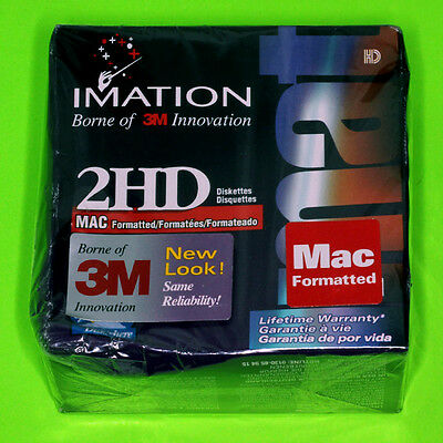 NEW Imation 3M 2HD MAC Formatted 10 x 3.5 3 1/2 Inch Floppy Disk. SEALED.