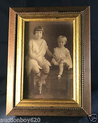 "Generic Antique Photo of Children in 6""x8"" Wood Frame"