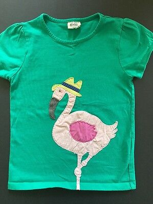 MINI BODEN 5-6y  girls green with pink flamingo applique shirt short sleeve