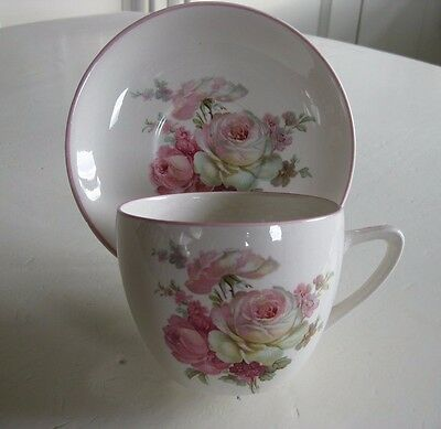 CROWN DEVON Large Breakfast CUP AND SAUCER ~ Pink Roses Floral Shabby Chic ~ VGC