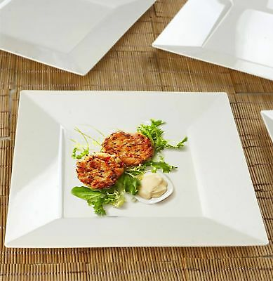 "10/pk  Ivory 10.75"" Square Disposable Plastic Plate  Catering"