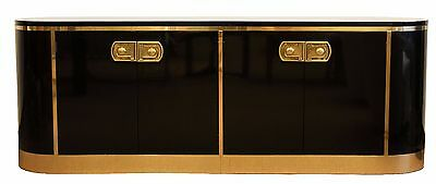 Mid Century Modern Mastercraft Black Lacquer & Brass Console Credenza 1970s