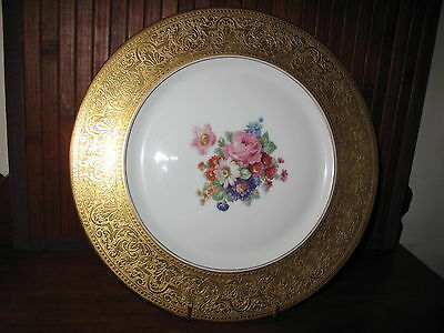 "H & C BAVARIA  Heinrich & Co. Raised GOLD Encrusted 11"" Plate Charger GERMANY"