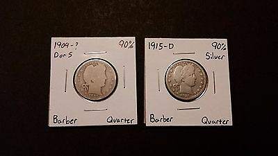 1909-? & 1915-D Barber Quarters Lot! 90% Silver! Free Shipping!