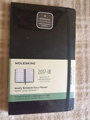 NEW Moleskine 18 Month Weekly Diary Planner LARGE BLACK SOFT Cover 2017-18
