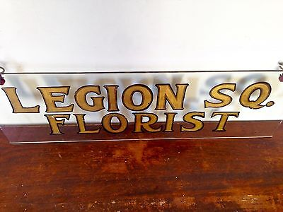 Antique Glass Florist Store Sign Display Hand Painted