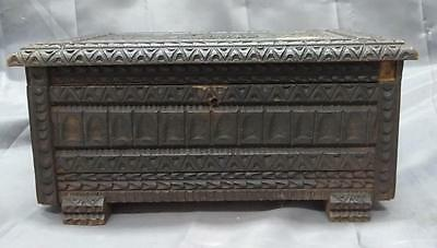Antique Old Vintage Carved Wood Wooden Carving Jewelry or Trinket Box Retro
