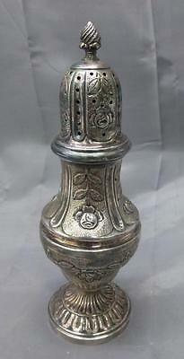 Old Vintage Antique Sterling Silver Muffineer Sugar Shaker Hand Chased Flowers
