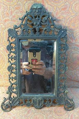 Antique Bronze Brass Ornate Mirror Picture Frame for Photograph Old Vintage