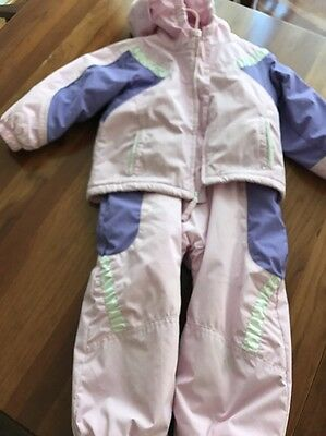 Toddler Girls Columbia Snowsuit Size 3T coat & Bibs two piece Pink Purple