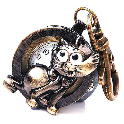 DBS Bronze Tone Fox Cat Key Ring Pocket Watches Quartz Montre porte clés