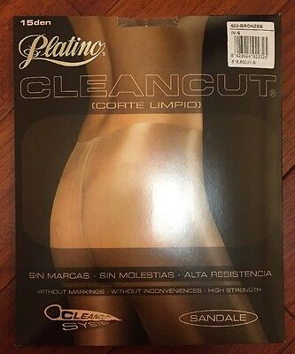 NEW Platino NO waistband CLEANCUT Sheer to Waist Pantyhose/Tights *BRONZEE* *XL*