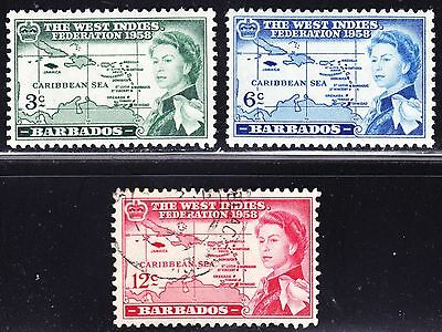 Barbados Scott 248-50  complete set  F to VF mint & used.