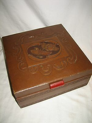 Vintage Deluxe Craft Chicago Jewelry Cosmetics Trinket Box Mirror Faux Leather