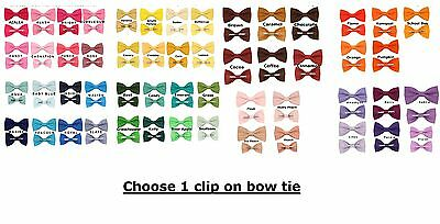 Choose 1 Clip On Cotton Bow Tie ~ Choose Men / Boy 2T 3T 4T Bowtie ~ Made In USA
