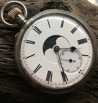 Solid silver high grade Moonphase triple Calendar double dial pocket watch