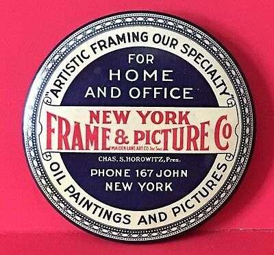 Vintage Celluloid Advertising Pocket Mirror , New York Frame & Picture  c1920
