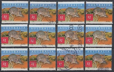 "Australia 2002 Fauna & Flora $1 ""bilby"" Stamps X 12 Stamps Used"