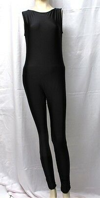 New Shiny Black Sleeveless Unitard / Bodysuit for Women size 14 Medium