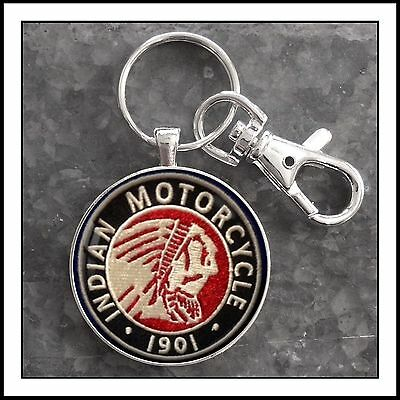 Vintage Indian Motorcycle Shoulder Patch Photo Keychain 🏍🎁