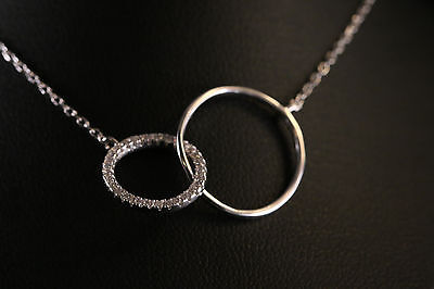 925 Sterling silver, Beautiful Double Circle Necklace W/Zircon