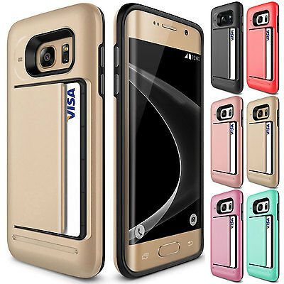 Shockproof Rugged TPU PC Wallet Card Slots Case Cover For Samsung Galaxy S8 Gold
