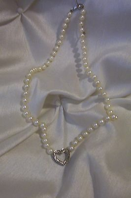 "Pearl & Heart 17"" Necklace, Individual Knots, 925 Silver, Diamond Chips, Vintage"