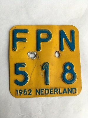1982 Motor Cycle Bike License Plate Tag FPN 518 Nederland Tin Netherlands Yellow