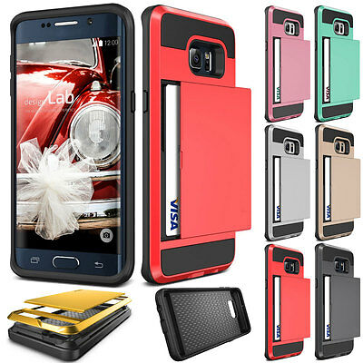 Slide Card Solts Shockproof Hard Back Case Cover For Samsung Galaxy S8 Plus Red