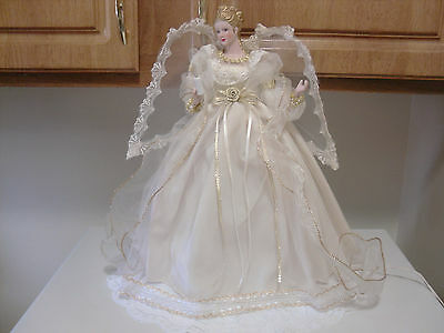 "Lighted 14"" blond Angel Christmas Tree Topper Clear Lights Ivory Silk & Net Gown"