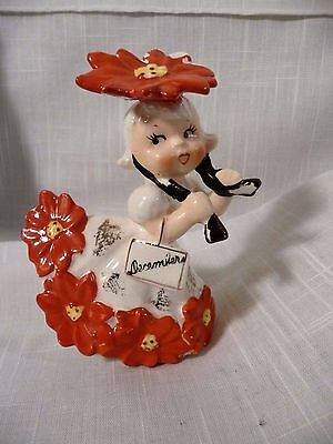 "1956 Napco December Flower of the Month ""Poinsettia""  Vintage Figurine"