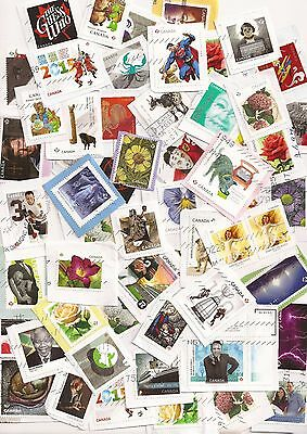 Mix of 50 recent Canada used stamps on paper - from 2012 to 2017