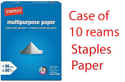 "Staples® Multipurpose Paper, 8 1/2"" x 11"", Case- 10 reams - FREE SHIPPING"