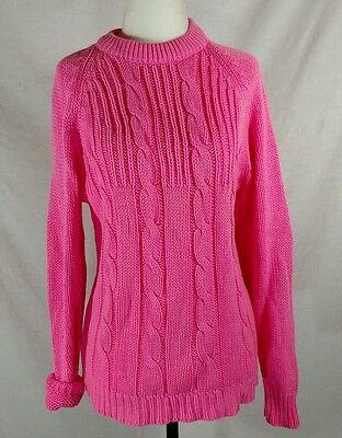 Womans Medium Vtg Bubblegum Pink Cableknit Sweater Acrylic Fully Fashioned Long