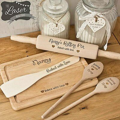 Personalised Baking Set, Rolling Pin, 2 x Wooden Spoon, Spatula & Chopping Board