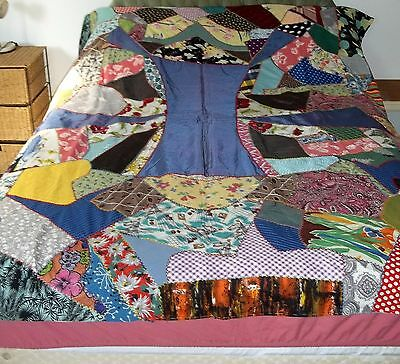 Antique Vintage Folkart Scrappy Crazy Mosaic Patchwork Quilt Throw Homemade