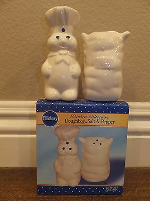 Pillsbury Doughboy Ceramic Salt & Pepper Shakers 2003, Poppin' Fresh Flour - NEW