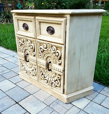 Credenza Console buffet bar cabinet Mastercraft? Mid Century painted refurbished