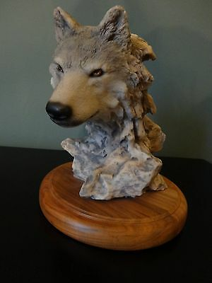 Hand Painted Resin Gray Wolf Head Collectible on Wood Stand