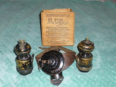 1914 Brilliant Search Light Miners Light Lantern With Original Wood Box L@@k