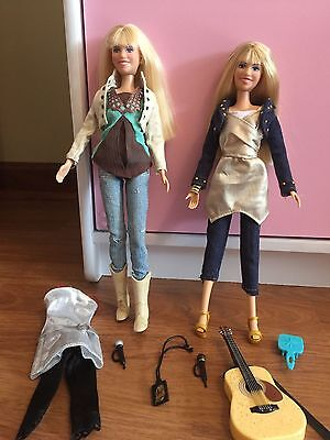 2 Hannah Montana  Miley Cyrus Dolls with Outfits & Accessories