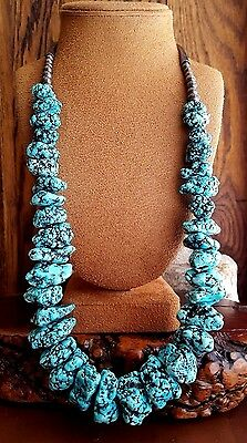"MASSIVE BEAUTY Vtg. Navajo  LONE MOUNTAIN Seafoam Turquoise Nugget  27"" NECKLACE"