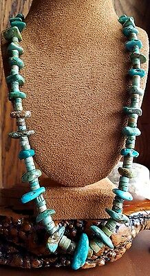 "Vintage SANTO DOMINGO Graduated Blue Green Turquoise Heishi Nugget  29"" NECKLACE"