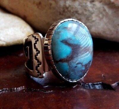 Huge DINA HUNTINGHORSE Natural SMOKY BISBEE Turquoise Sterling Silver RING Sz 11