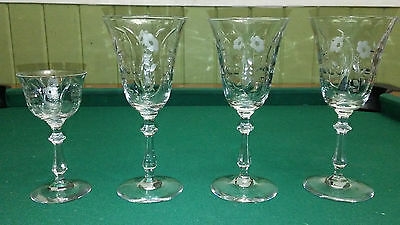WINE CORDIAL GLASS Etched Cut Crystal Floral & Leaf SET of 4