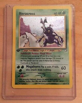Heracross 1St Edition Holo Pokemon Card 6/111 Neo Genesis Rare Ex Ltly Played