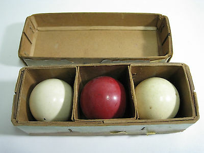Vintage Billiard Ball Set of 3 Original Box Snooker Pool Balls Old Red White